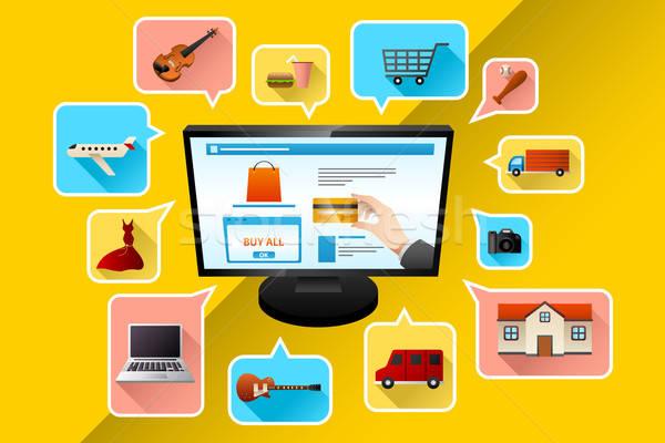 Internetes vásárlás internet vásárlás piac bolt hitelkártya Stock fotó © artisticco