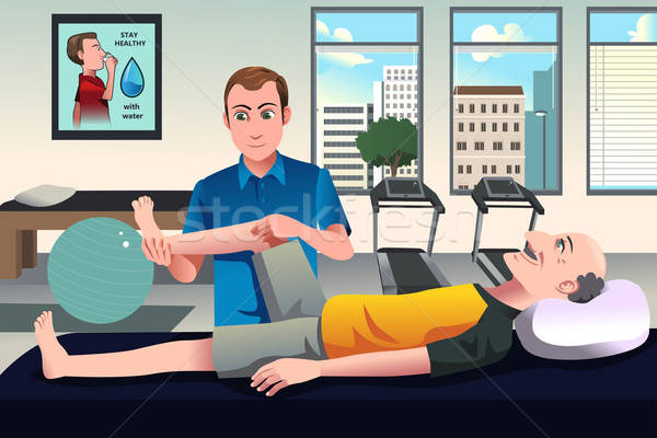 Physical therapist working on a patient Stock photo © artisticco
