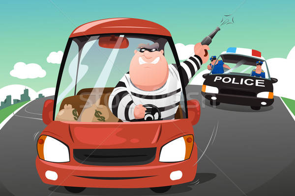 Police chasing criminals in a car on the highway Stock photo © artisticco