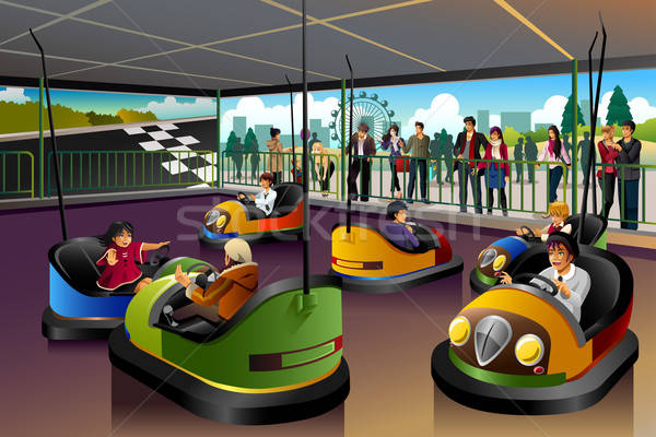 Kids Playing  Car in a Theme Park Stock photo © artisticco