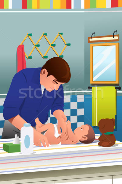 Father Changing a Diaper Stock photo © artisticco