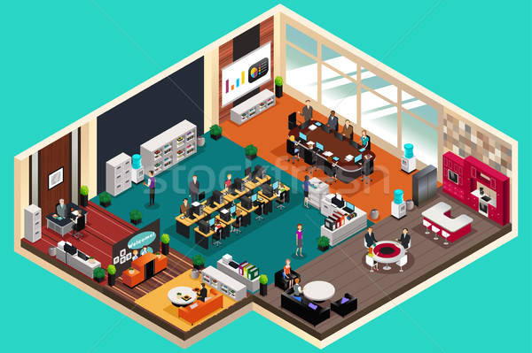 Business People Working in the Office in Isometric Style Stock photo © artisticco