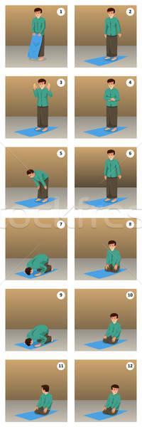 Musulmanes hombre rezando oración dibujo Cartoon Foto stock © artisticco