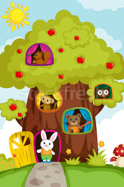Animals in a treehouse Stock photo © artisticco