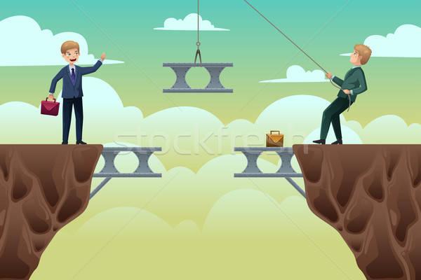 üzlet csapatmunka kettő üzletemberek épít híd Stock fotó © artisticco