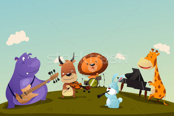 Animals Playing Music Instrument in a Band Stock photo © artisticco