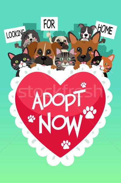 Pets For Adoption Poster Stock photo © artisticco