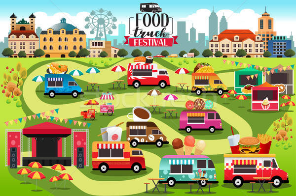 Food Trucks Festival Map Stock photo © artisticco