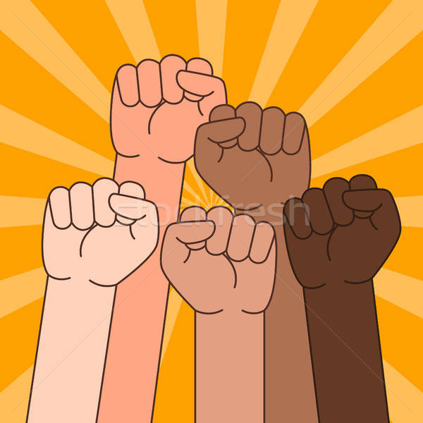 Multi Ethnic People With Raised Fist Illustration Stock photo © artisticco
