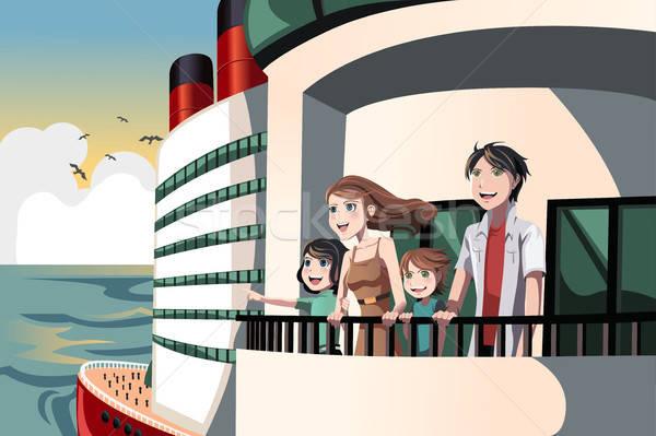 Familie cruise reis kinderen schip vrouwelijke Stockfoto © artisticco