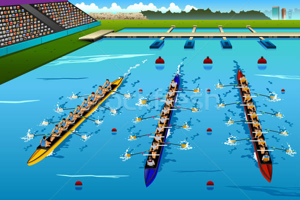 Eight Rowers Rowing in the Competition Stock photo © artisticco