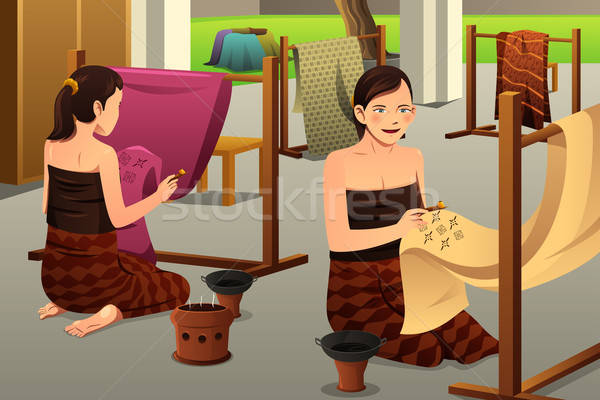 Woman Making Batik Stock photo © artisticco