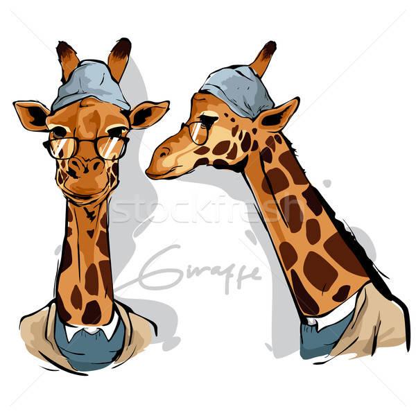 Zürafa insan çizim karikatür modern vektör Stok fotoğraf © artisticco