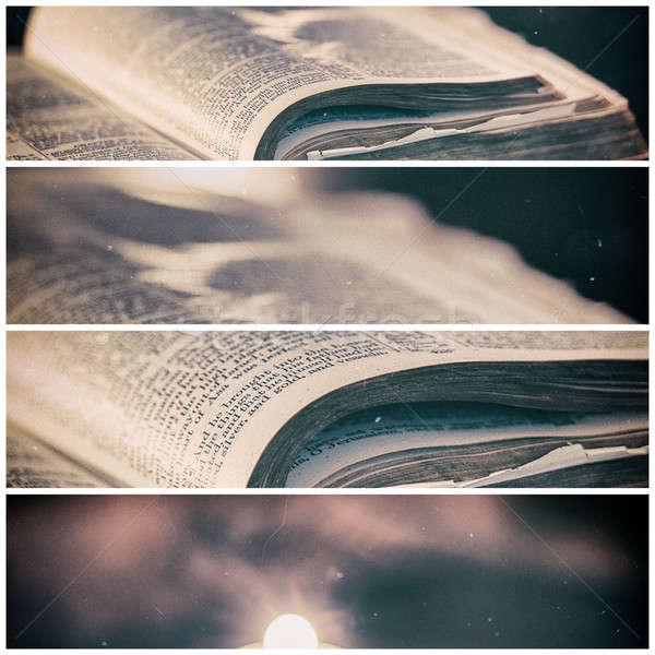 Stock fotó: Biblia · gyertyák · alacsony · fény · magas · kontraszt