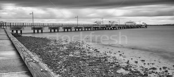 Point blanc noir longue exposition nature pêche vue Photo stock © artistrobd