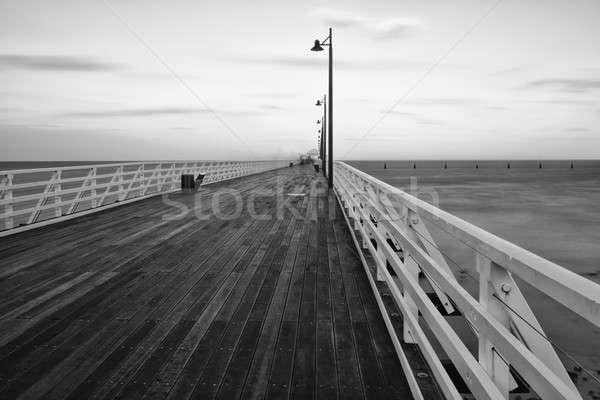 Blanc noir image pier queensland Australie eau Photo stock © artistrobd