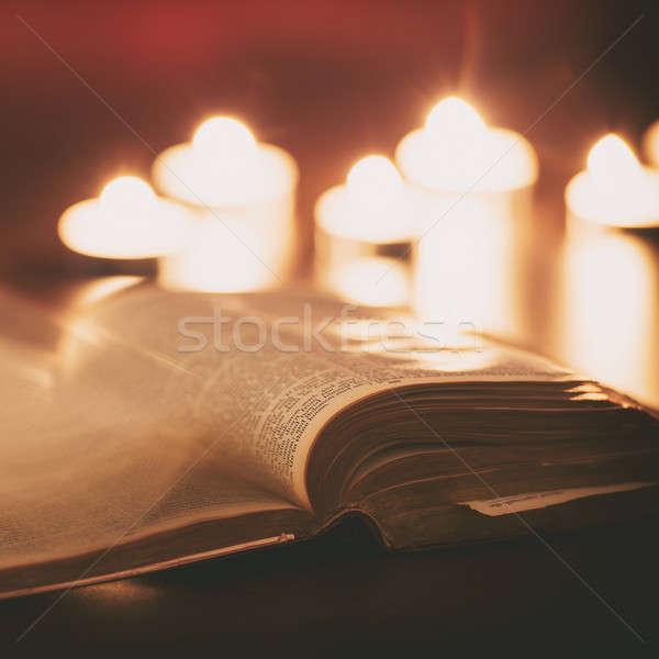 聖書 キャンドル 低い 光 シーン イースター ストックフォト © artistrobd