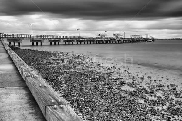 Stock photo: Woody Point Jetty. Black and White.