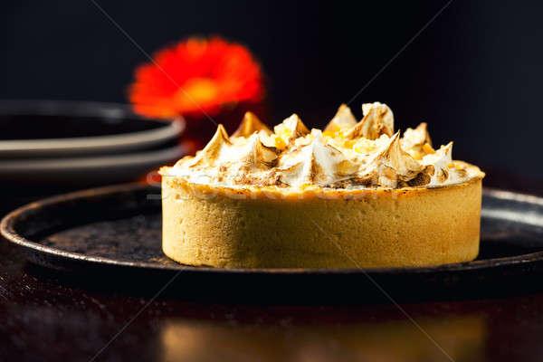 Citron tarte fleur plaque alimentaire fruits Photo stock © artistrobd