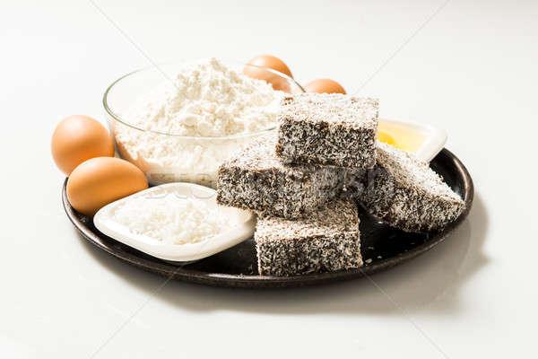 Groep hout voedsel ingrediënten partij Stockfoto © artistrobd