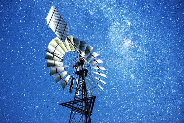 Stars and a windmill at night Stock photo © artistrobd