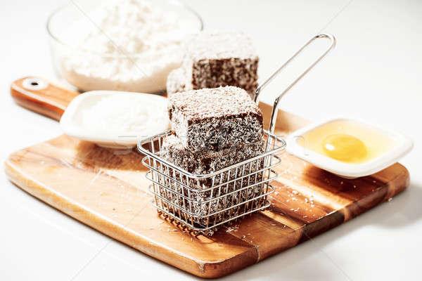 Grupy drewna deska do krojenia żywności składniki strony Zdjęcia stock © artistrobd