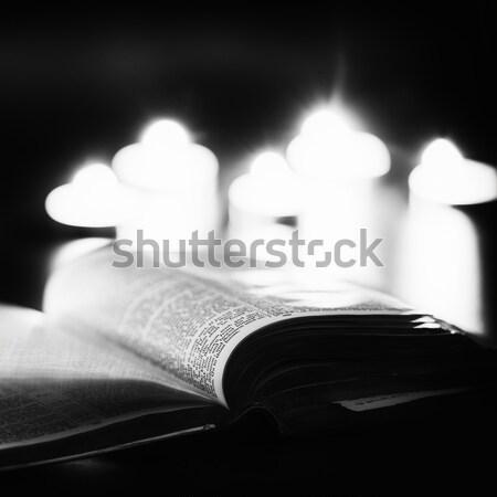 Библии свечей низкий свет сцена Пасху Сток-фото © artistrobd