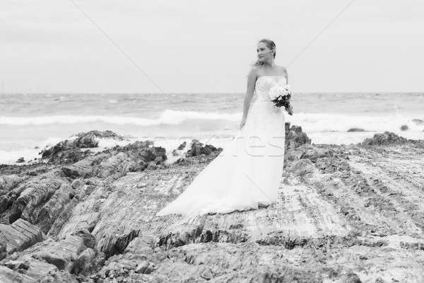 Bride at Snapper Rock beach in New South Wales. Stock photo © artistrobd