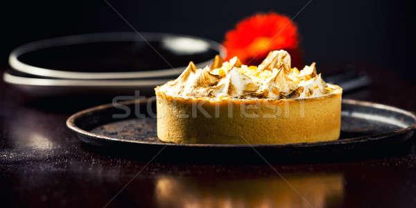 Limón pie flor placa alimentos frutas Foto stock © artistrobd