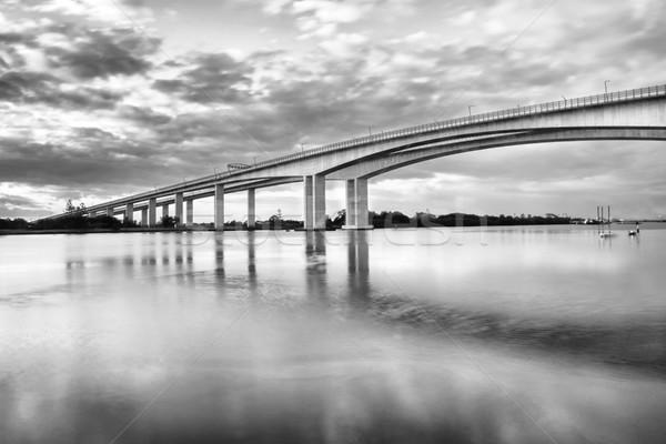 Geçit köprü otoyol brisbane siyah beyaz köprüler Stok fotoğraf © artistrobd
