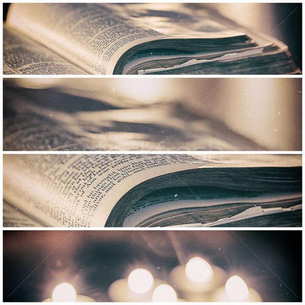 聖書 キャンドル 低い 光 シーン パネル ストックフォト © artistrobd