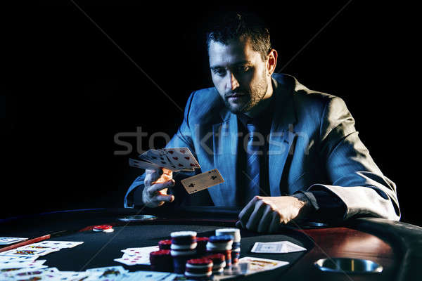 Photo stock: émotionnel · élevé · poker · joueur · frustré