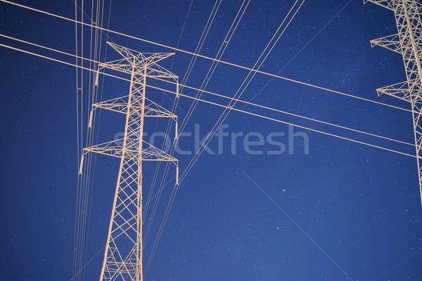высокое напряжение власти башни ночь звезды Брисбен Сток-фото © artistrobd