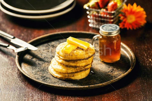Crumpets and honey Stock photo © artistrobd