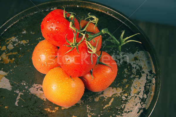Rouge fraîches tomates métal Photo stock © artistrobd