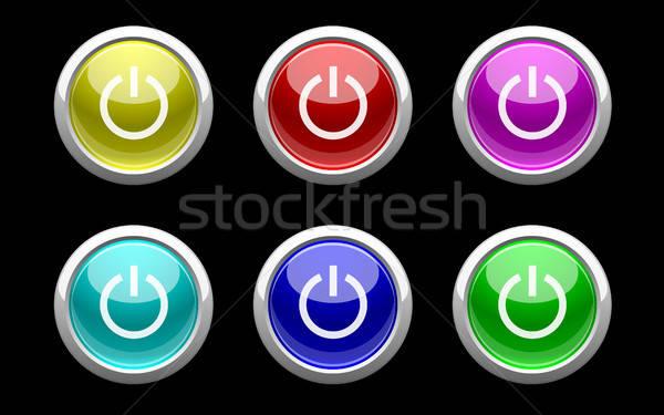 Plástico poder botões preto símbolo vermelho Foto stock © artizarus