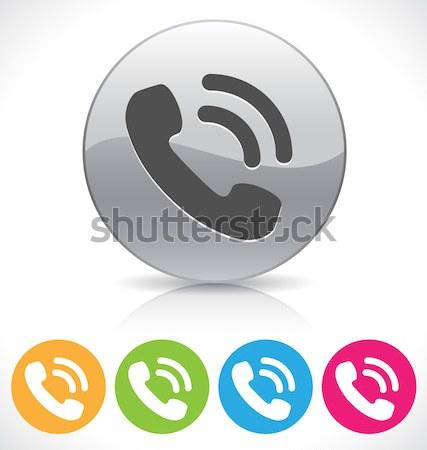 Foto stock: Telefone · ícone · prata · brilhante · botão · reflexão