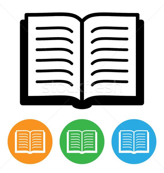 Livro aberto ícone isolado branco papel laranja Foto stock © artizarus