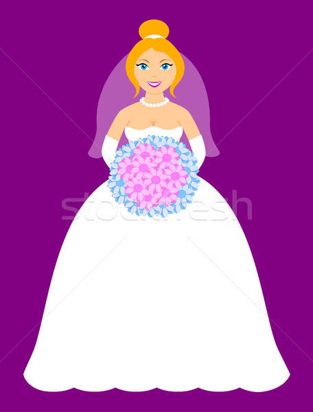 Sorridente noiva feliz flores roxo casamento Foto stock © artizarus