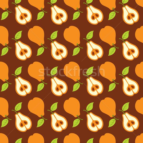 Peras sem costura fruto fundo laranja padrão Foto stock © artizarus