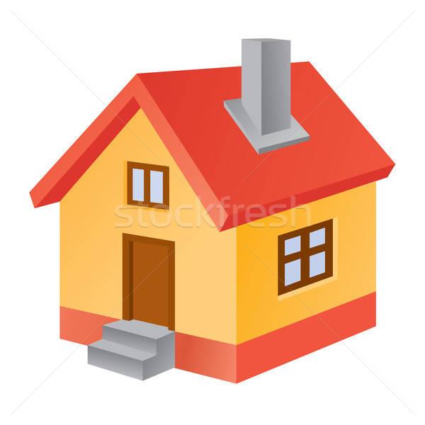 3D casa ícone três branco casa Foto stock © artizarus