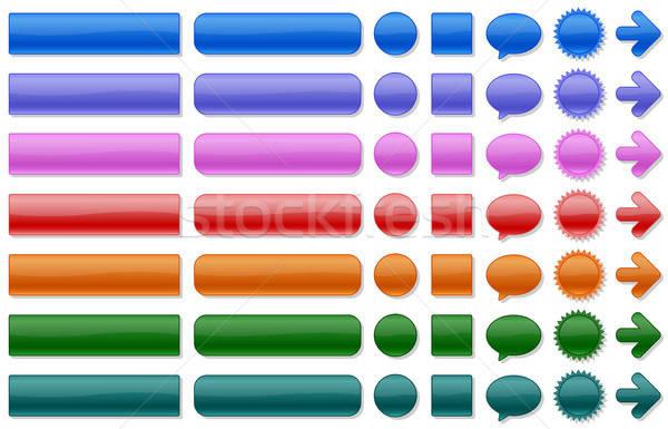 Cor botões teia brilhante verde Foto stock © artizarus