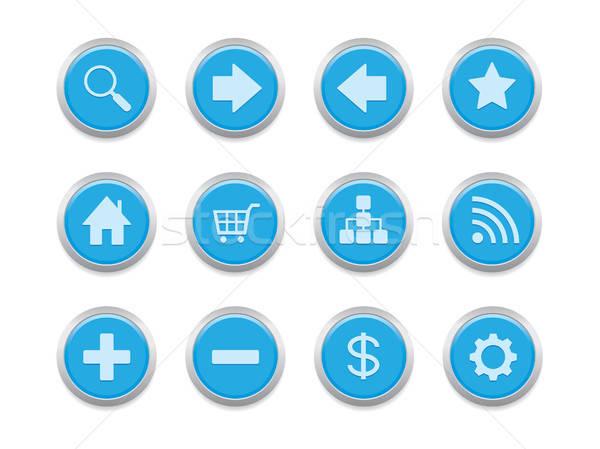 Kék internetes ikonok weboldal blog bemutató internet Stock fotó © artizarus