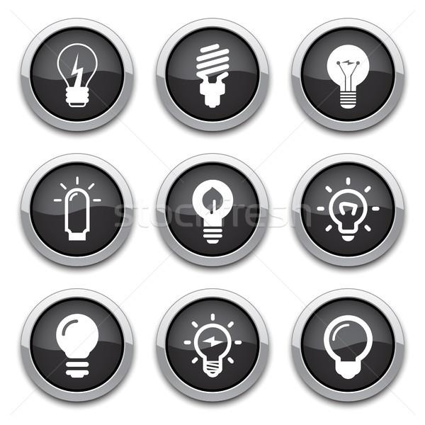 Botões preto brilhante lâmpada energia Foto stock © artizarus