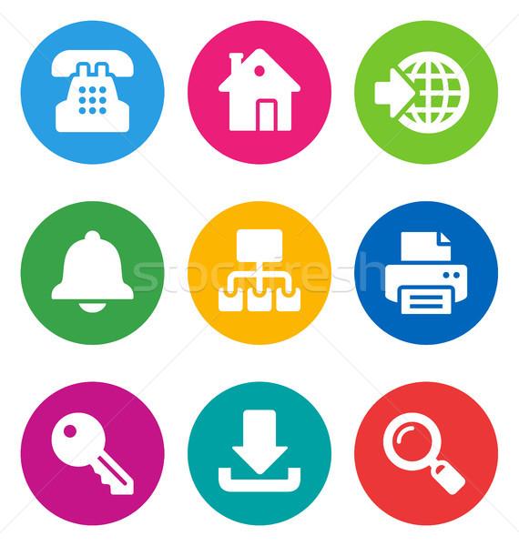 Kolor web ikony odizolowany biały domu Zdjęcia stock © artizarus