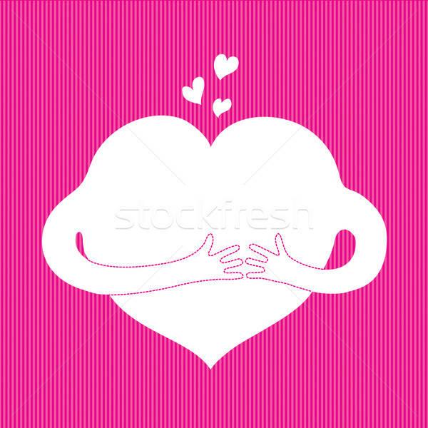 Cair amor desenho animado coração mãos rosa Foto stock © artizarus