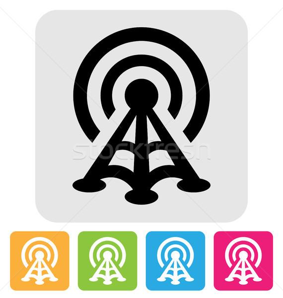 Radio toren icon symbool geïsoleerd witte Stockfoto © artizarus