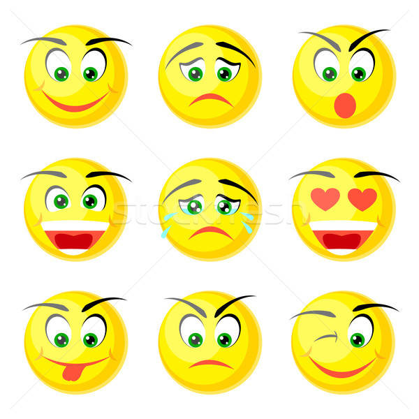 yellow smile icons Stock photo © artizarus