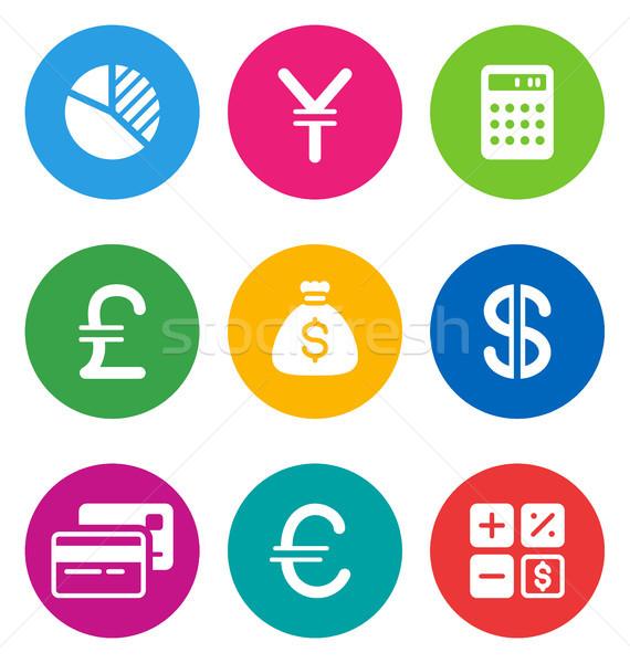 Foto stock: Color · financiar · iconos · circular · aislado · blanco
