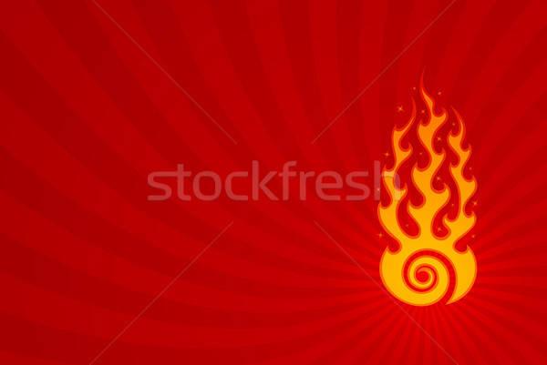 Hipnótico chama elegante vermelho redemoinho retro Foto stock © artizarus